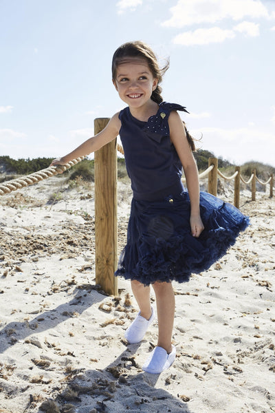 Girls Jodie Navy Blue Bow Top - Junior Couture