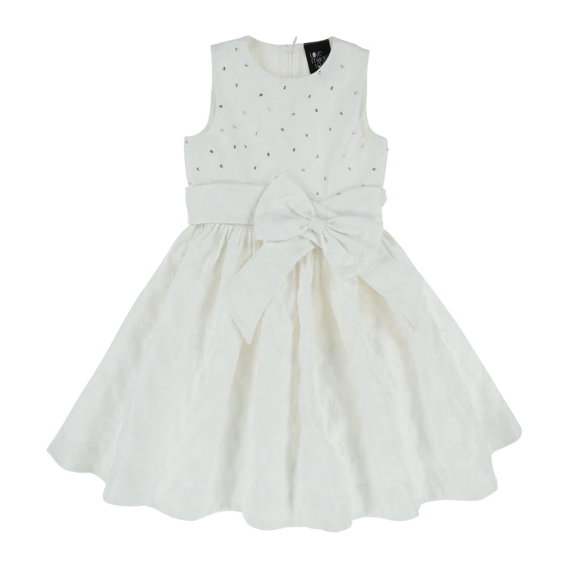 Girls White Dress With Crystals