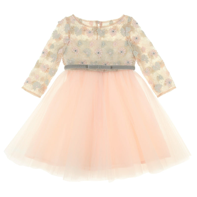 Girls Peach Special Occasion Dress