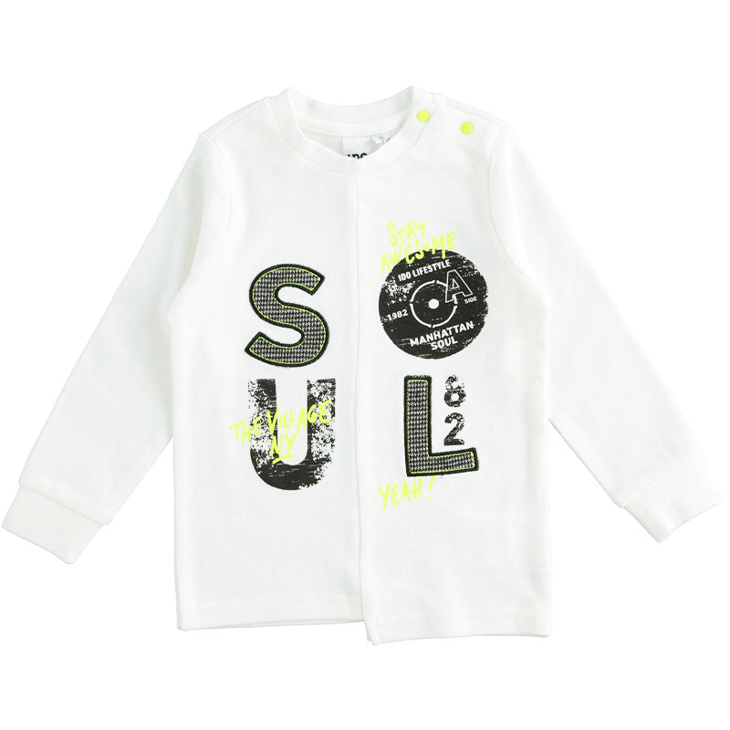 Boys White Printed Cotton Top