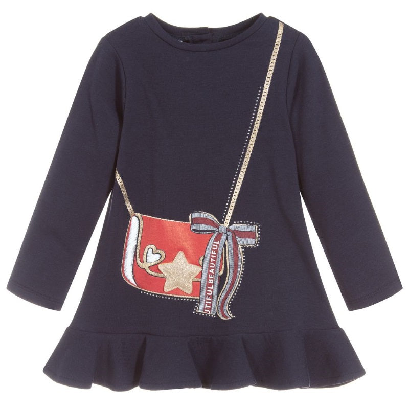 Girls Navy Cotton Dress