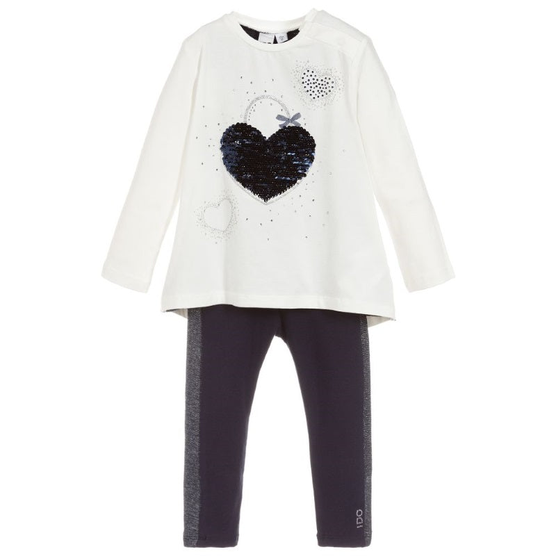 Girls Ivory & Navy Legging Set