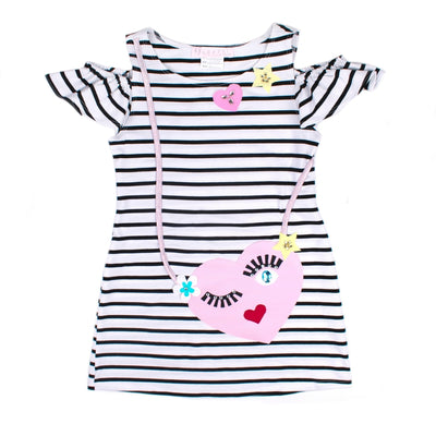 Girls Black & Ivory Striped Dress - Junior Couture