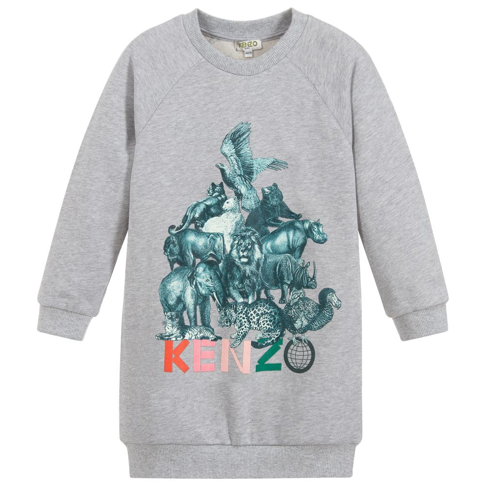 Girls Grey Jungle Print Jumper Dress