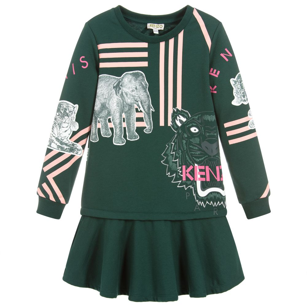 Girls Green Logo Jersey Dress