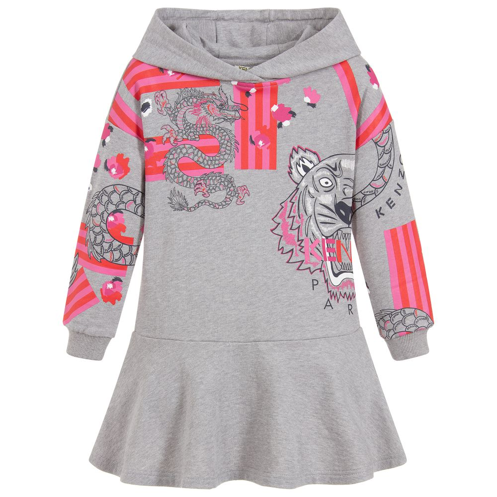 Girls Grey & Pink Jumper Dress