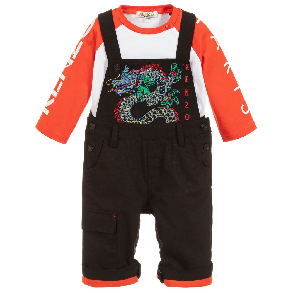 Boys Black & Red Dungaree Set