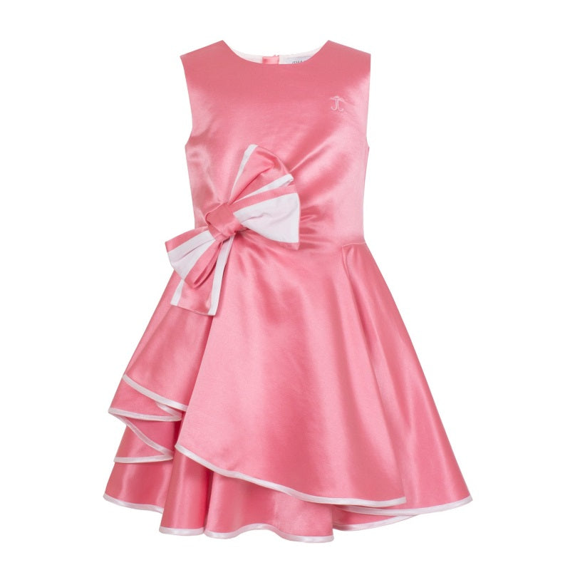 Girls Pink Satin Bow Dress