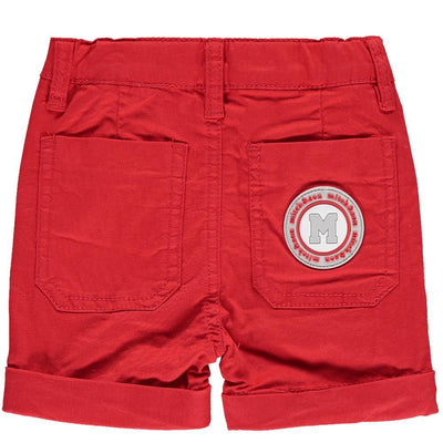 Boys Red Cotton Twill Shorts - Junior Couture