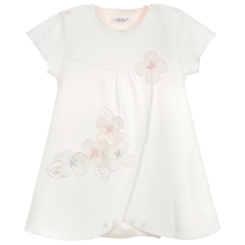 Baby Girls Ivory Flower Dress