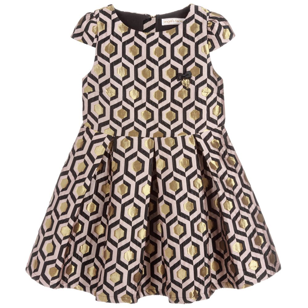 Girls Blush Pink & Gold Petra Dress