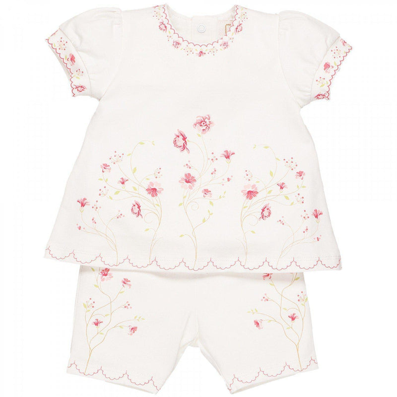 Baby Girls White Cotton Shorts Set