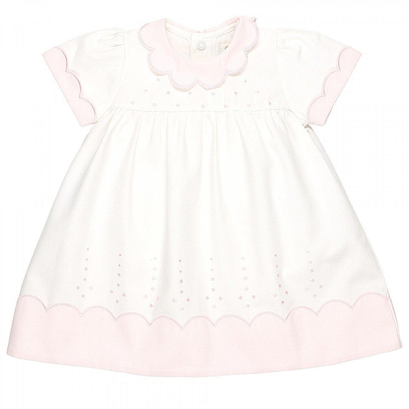 Peony Baby Girls White and Pink Spotted Dress