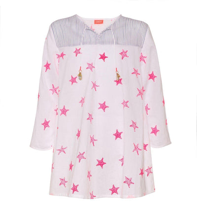 Girls White Starfish Kurta Dress - Junior Couture