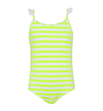 Girls Neon Yellow Stripe Frill Strap Swimsuit - Junior Couture