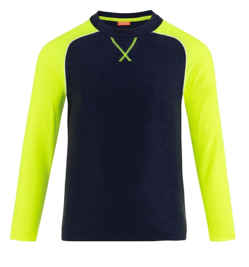 Boys Navy and Neon Long Sleeve Rash Vest UPF 50+ - Junior Couture