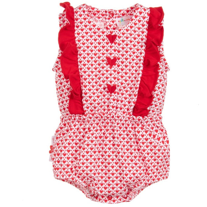 Baby Girls Red Heart Onesie