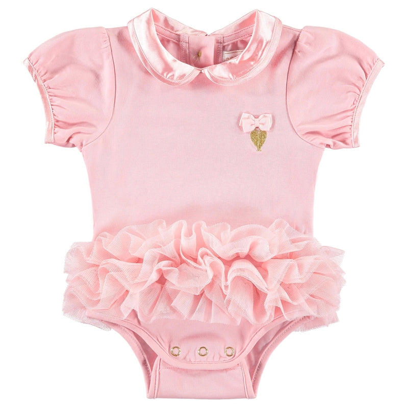 Baby Girls Rose Pink Tutu Onesie - Junior Couture