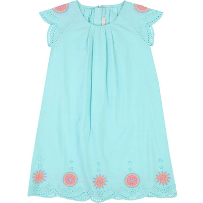Girls Turquoise Cotton Dress