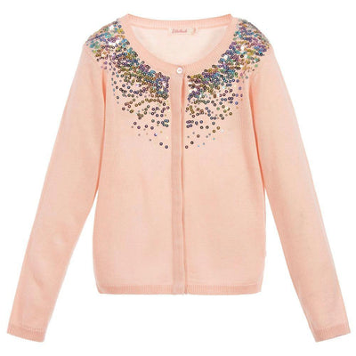 Girls Pale Pink Sequin Cardigan