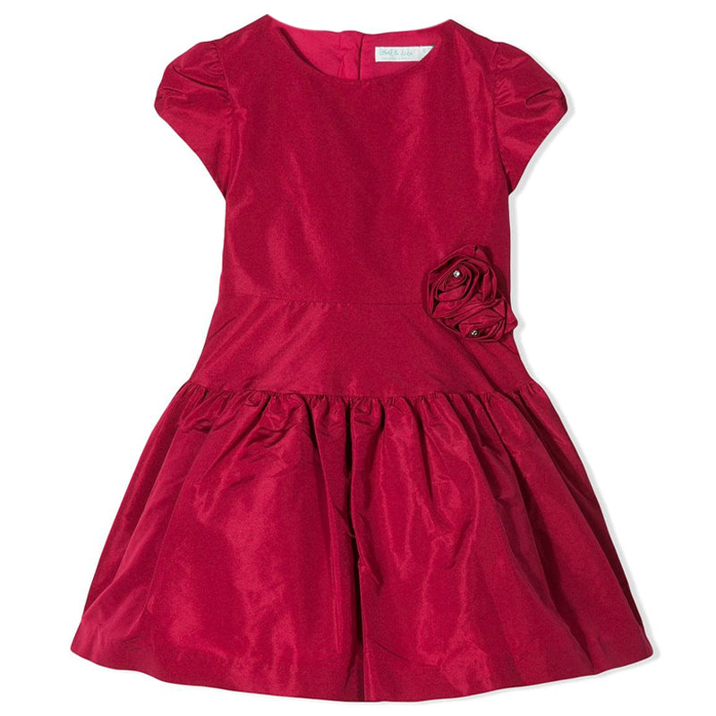Girls Cerise Taffeta Dress