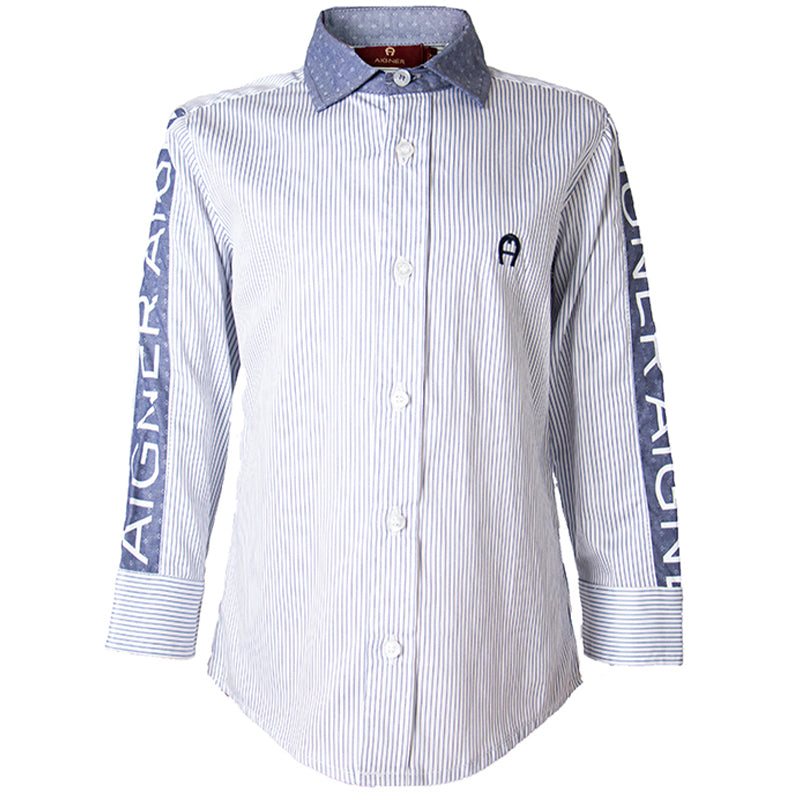 Boys Blue Striped Logo Shirt