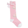 Girls Pink Waterlily Knee High Socks