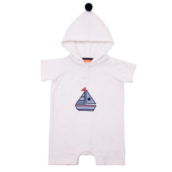Baby Boys White Little Boats Towelling Onesie