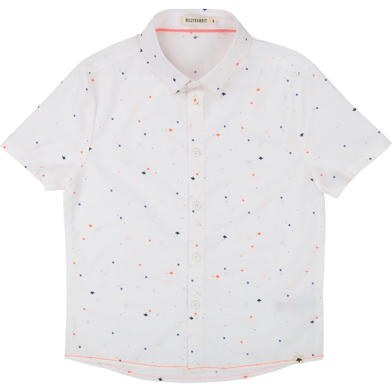 Boys White Cotton Short Sleeve Shirt