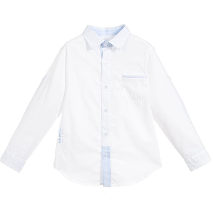 Boys White & Blue Long Sleeved Shirt