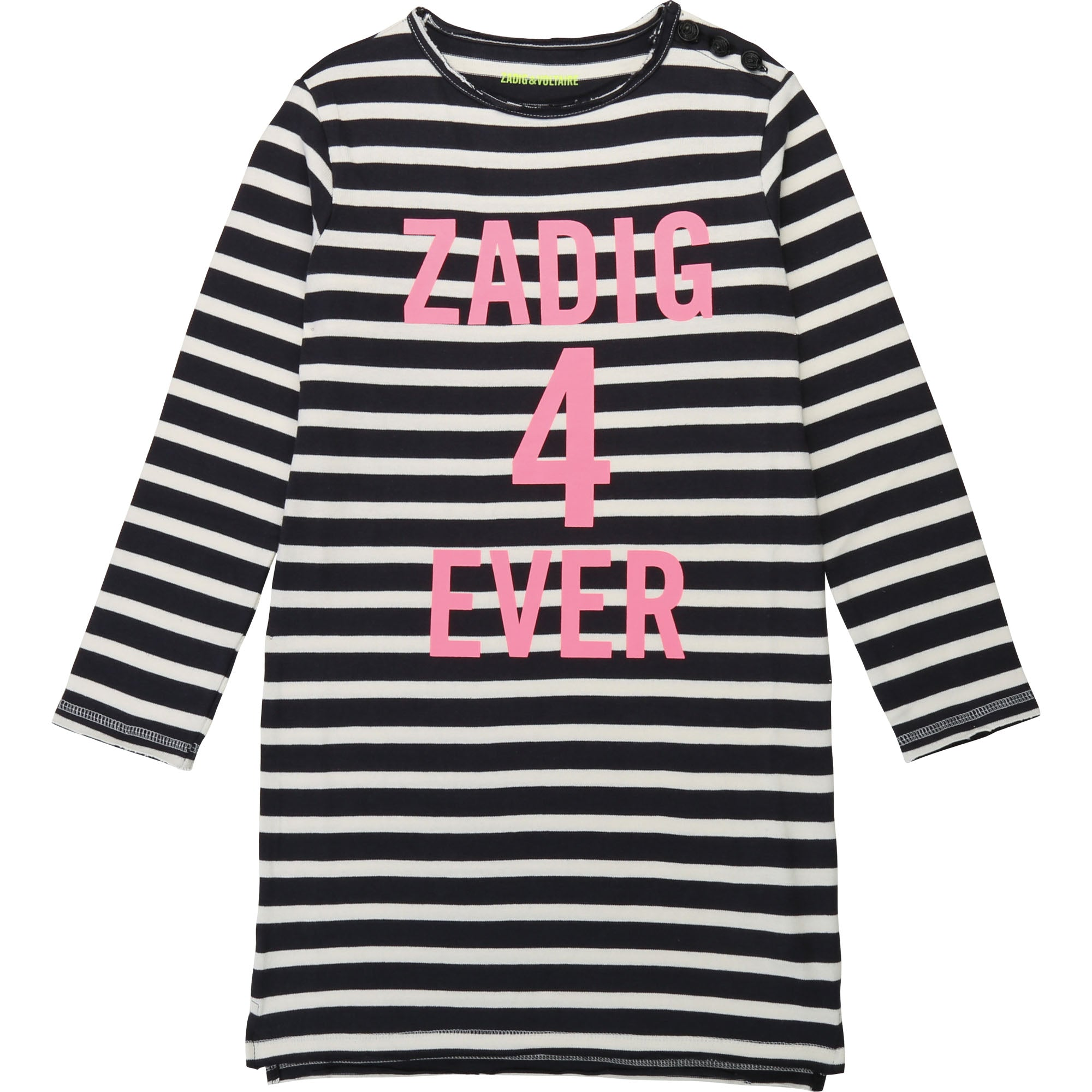 Girls Black & White Logo Dress