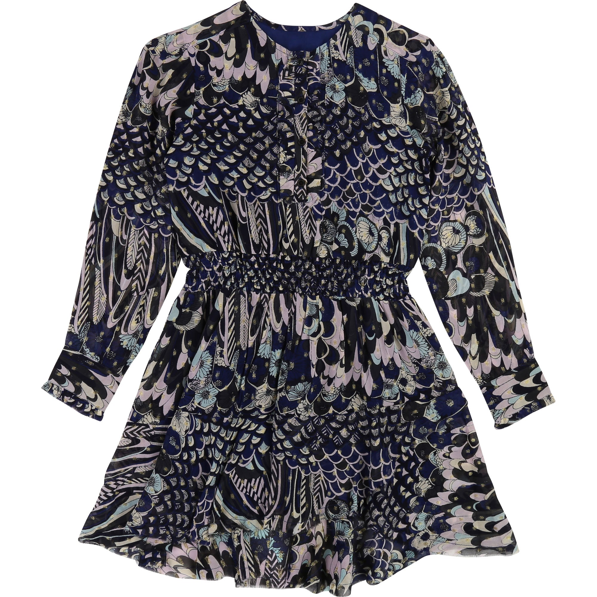 Girls Navy Blue Printed Dress