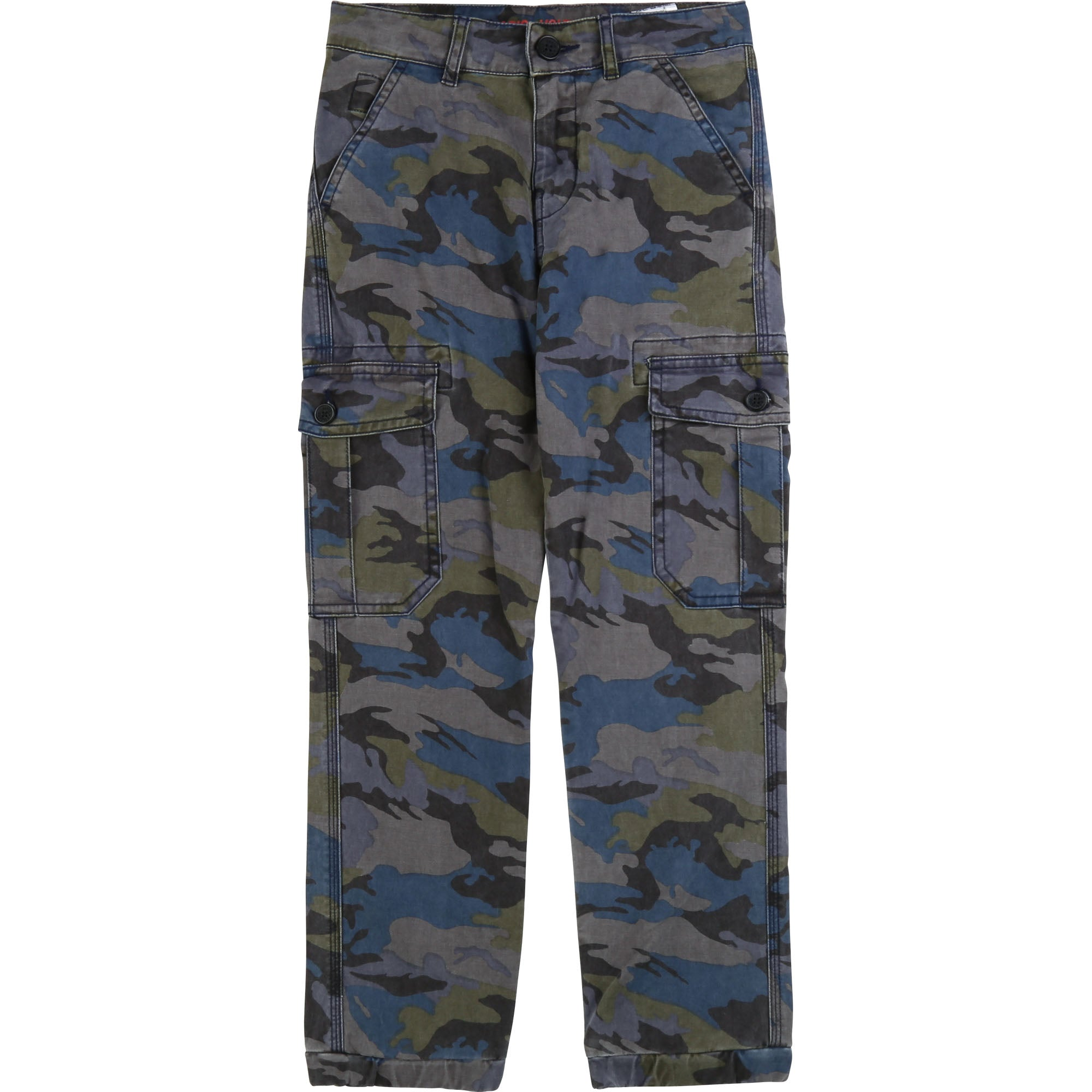 Boys Khaki & Blue Camouflage Trousers