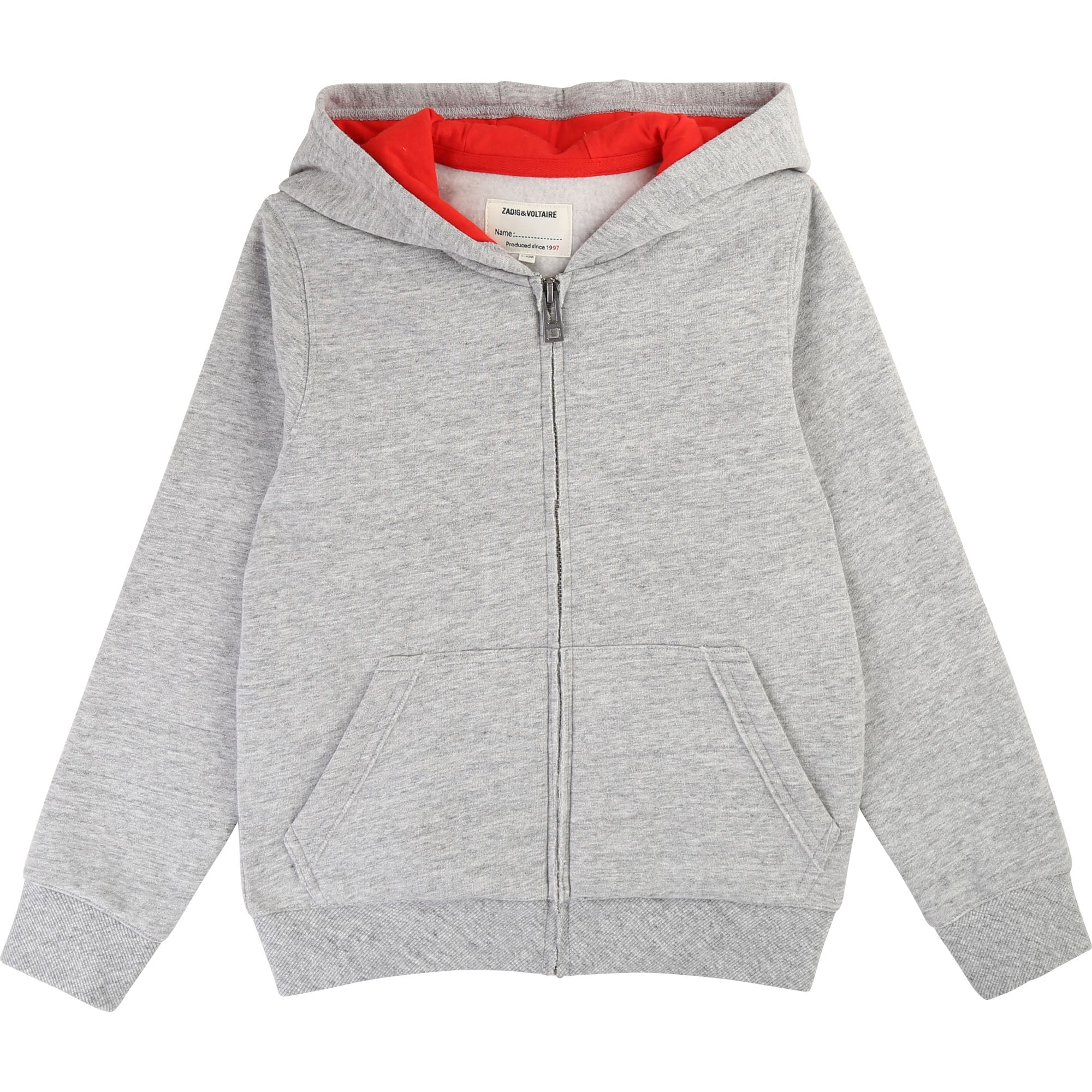 Boys Grey Logo Hooded Top
