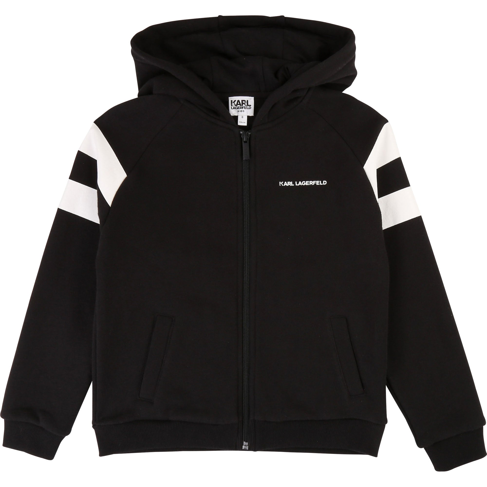 Boys Black Jersey Hooded Top