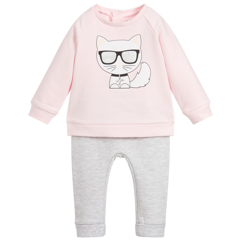 Baby Girls Pink & Grey Tracksuit