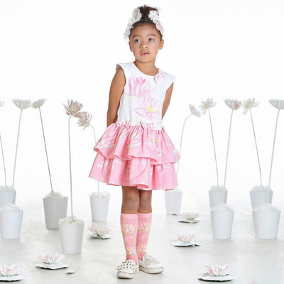 Girls Pink Waterlily Knee High Socks - Junior Couture