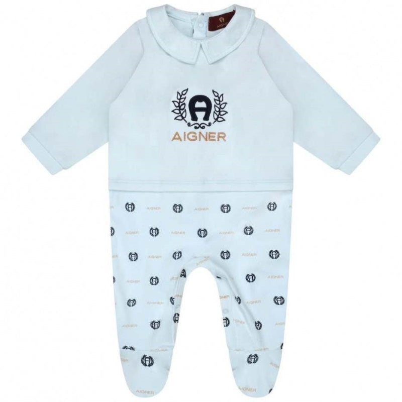 Pale Blue Cotton Logo Babygrow