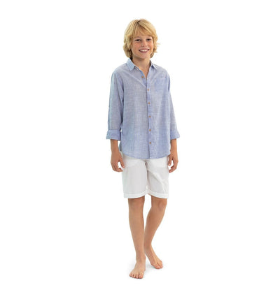 Boys Blue Stripe Long Sleeve Shirt - Junior Couture