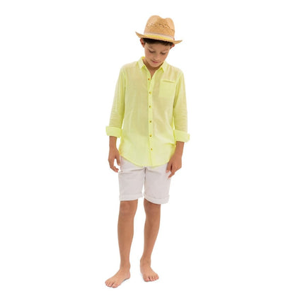 Boys Neon Yellow Long Sleeve Shirt - Junior Couture
