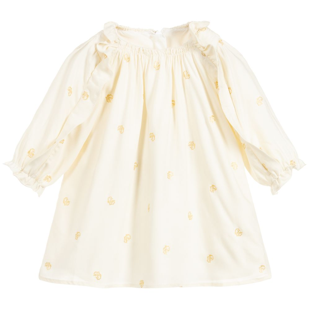 Girls Ivory & Gold Dress