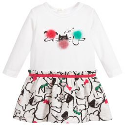 Baby Girls Ivory Printed Dress