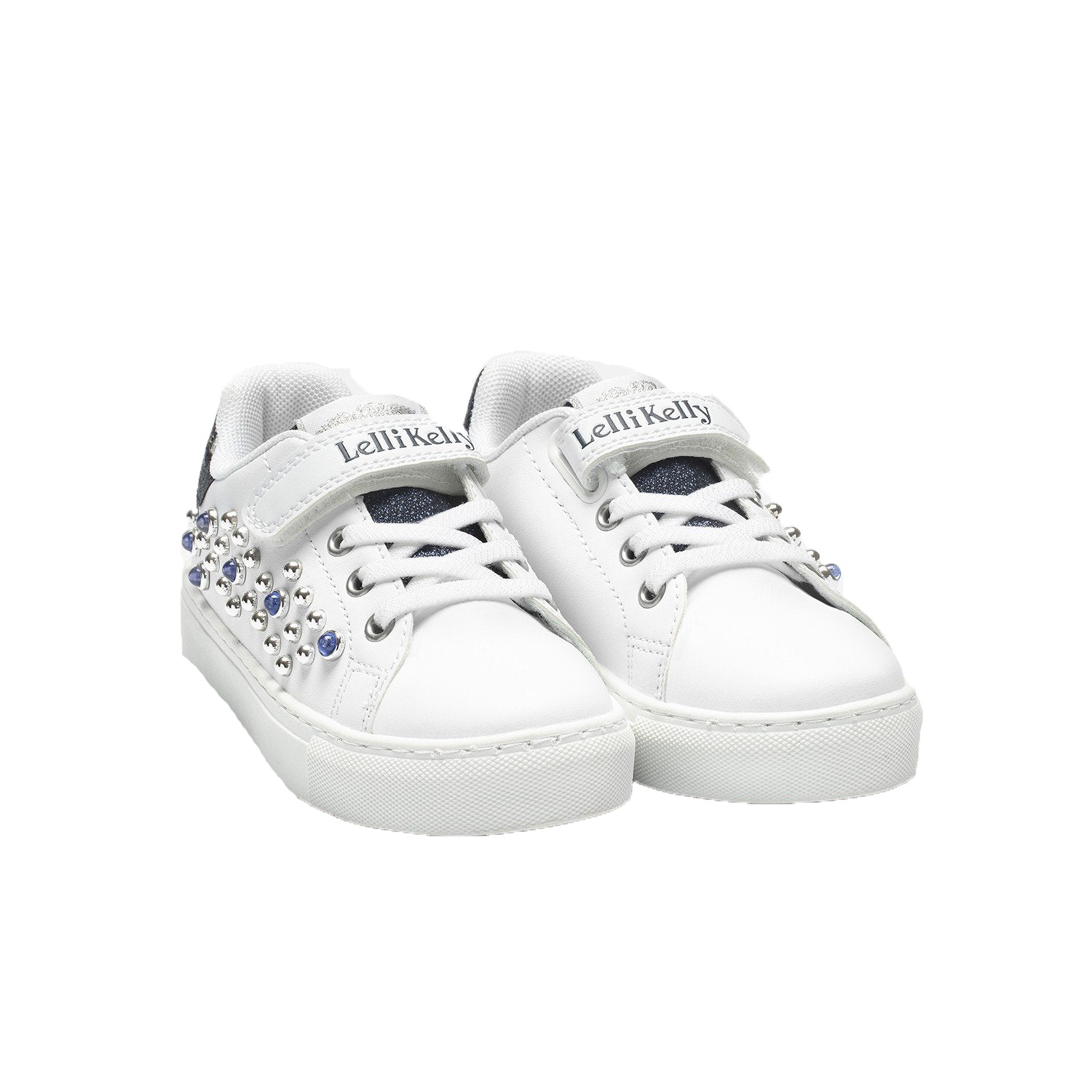 Girls Cristal White & Blue Pearl Sneakers