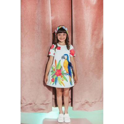 Girls Floral Parrot Dress - Junior Couture