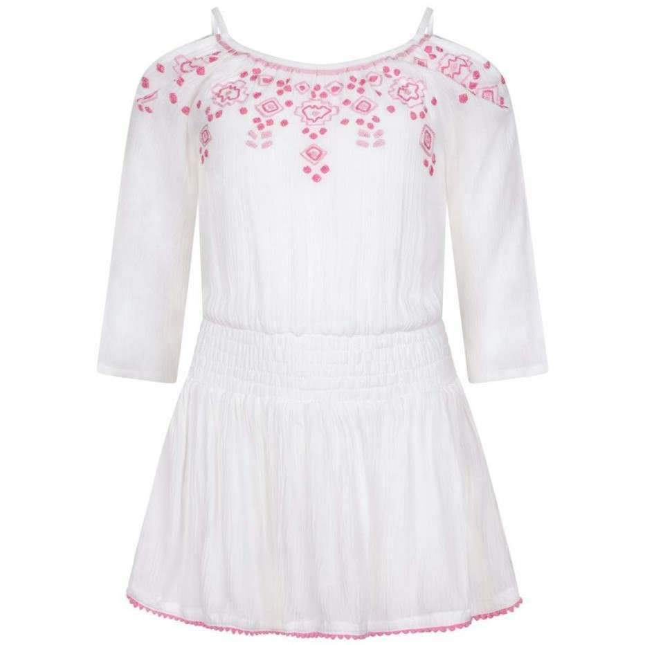 White & Pink Cherries Dress - Junior Couture