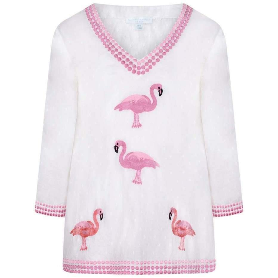 Girls White & Pink Flamingo Kaftan - Junior Couture
