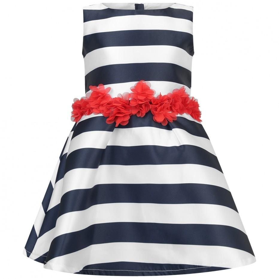Girls Navy & White Striped Dress - Junior Couture