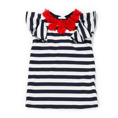 Navy & White Striped Dress - Junior Couture