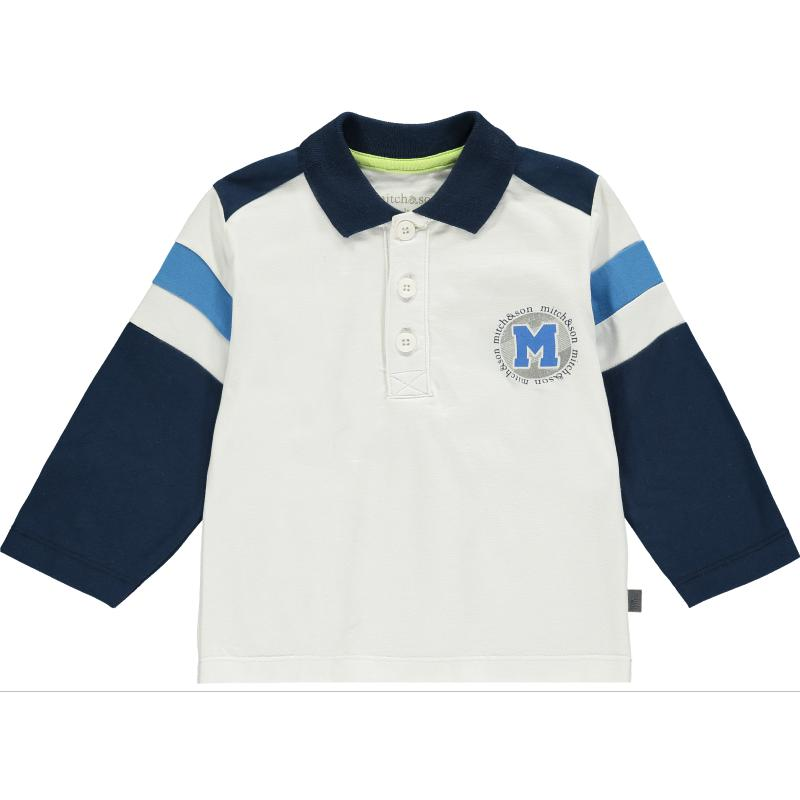 Boys White & Navy Polo Shirt