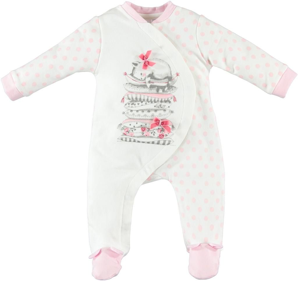 Baby Girls White & Pink Babygrow